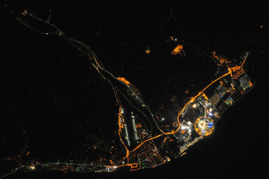 ISS038-E-042992 (10 Feb. 2014) --- One of the Expedition 38 crew members aboard the International Space Station downlinked this vertical 600mm night view of Sochi, Russia, which clearly shows the site of the 2014 Winter Olympics while they are just a few days under way. Fisht Stadium where the Opening Ceremonies were held on Feb. 7 is easily recognizable as the bright circular structure. Sochi is a city in Krasnodar Krai, Russia, located on the Black Sea coast near the border between Georgia/Abkhazia and Russia. It has an area of 1,353 square miles or 3,505 square kilometers. Photo credit: NASA