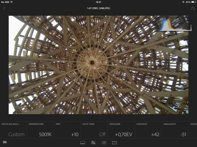 Eposure correction in iPad for Lightroom