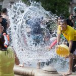Water fight in central Budapest 2016